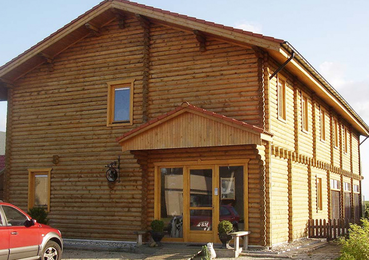 Scandinavisch houten huis geverfd met finse verf