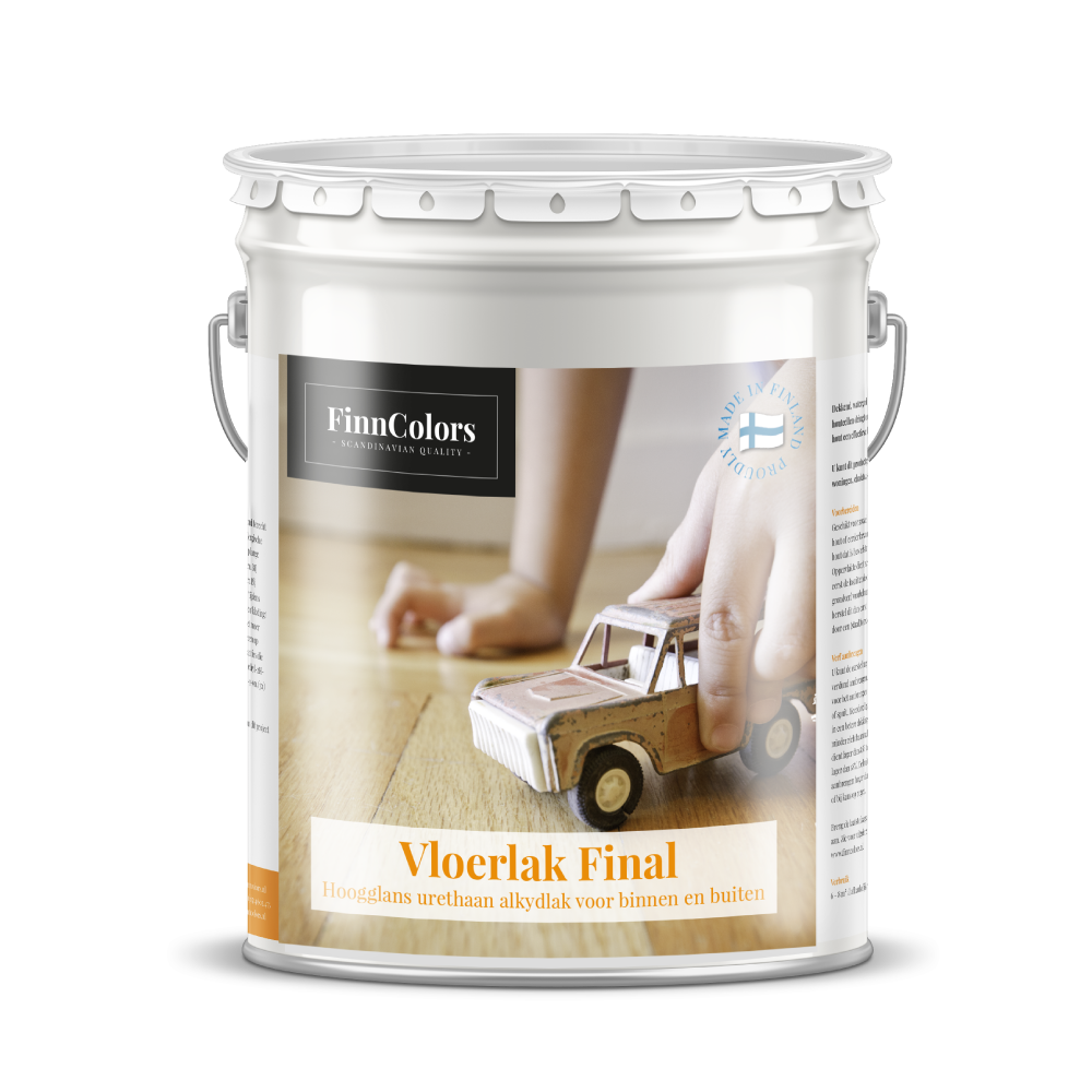 Finse vloerlak finncolors Final Lak voor hout- en parketvloeren (dansvloeren, feest- en gymzalen) en meubels. Voor binnen- en buitenshuis.